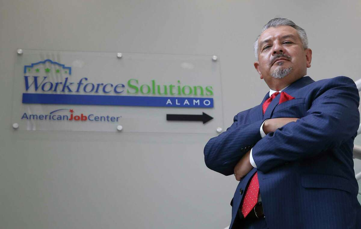 Workforce Solutions Alamo and CEO Adrian Lopez acts as the lead for intake and as a clearinghouse for job applicants. Lopez was at the organization's newest center where, due to the pandemic and safety protocols, are accepting appointments only for job applicants to search for potential work in the area.