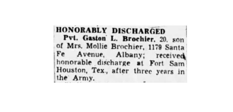 "Gaston ""Babe"" Brochier's honorable discharge notice, Oakland Tribune, 1945. Photo: Oakland Tribune"