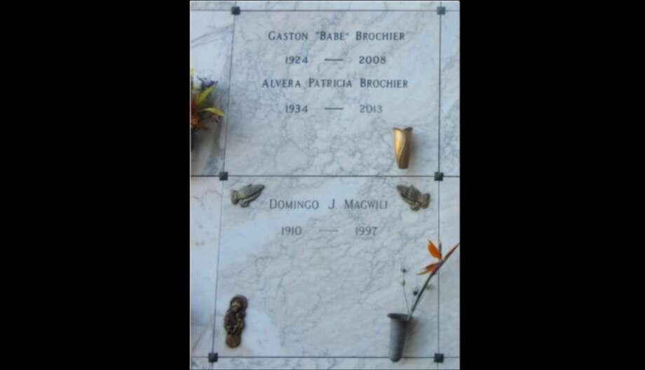 "Gaston ""Babe"" Brochier and Alvera Brochier's headstones, Alameda, Oakland Photo: Find A Grave"
