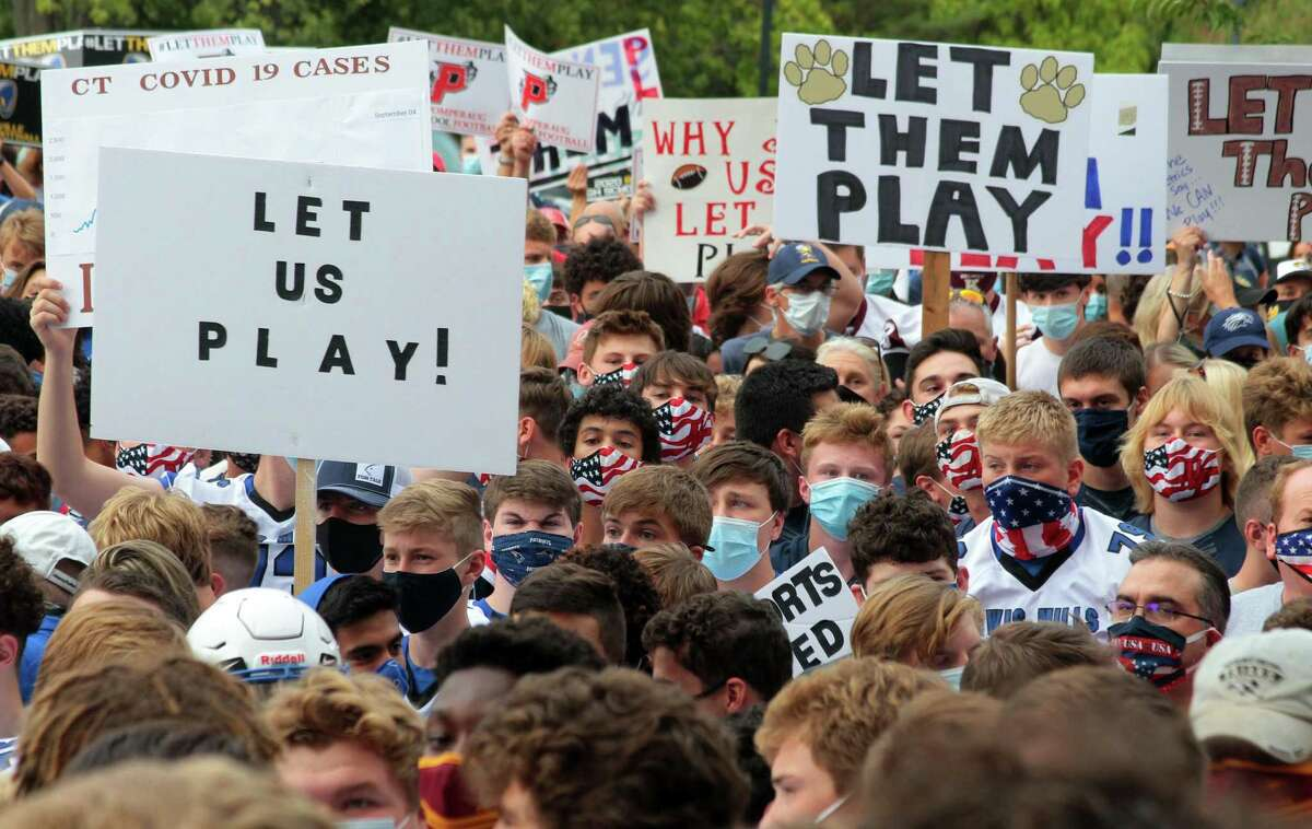 High school football coaches, players and their families from across the state came to the state Capitol in Hartford last week to protest not being able to play in the upcoming season due to the coronavirus.