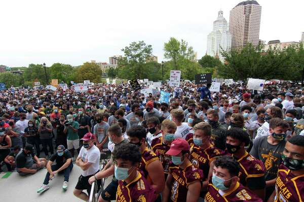 High school football coaches, players and their families from across the state came to the Hartford State Capitol building to protest not being able to play in the upcoming season due to the coronavirus on Sept. 9.