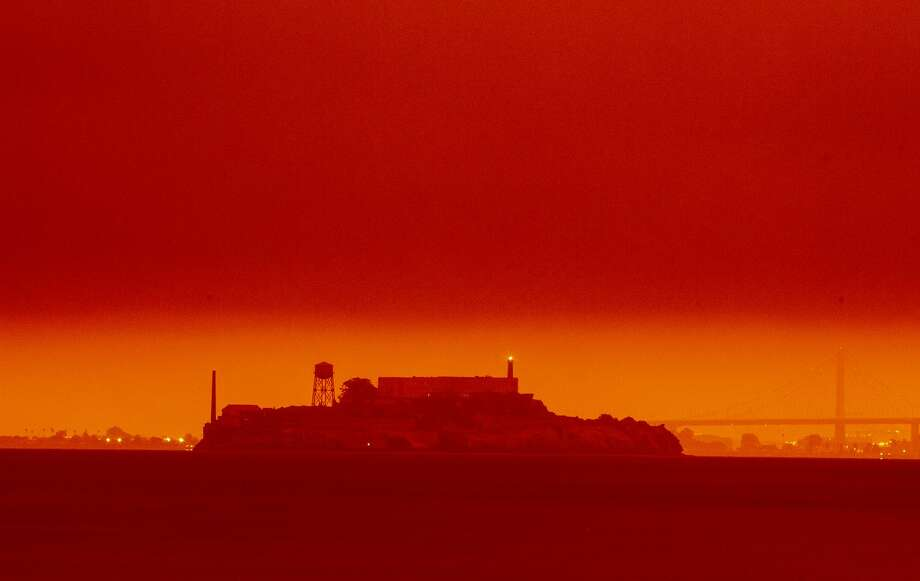 The view of Alcatraz under orange skies on Sept. 9, 2020. Photo: Frederic Larson