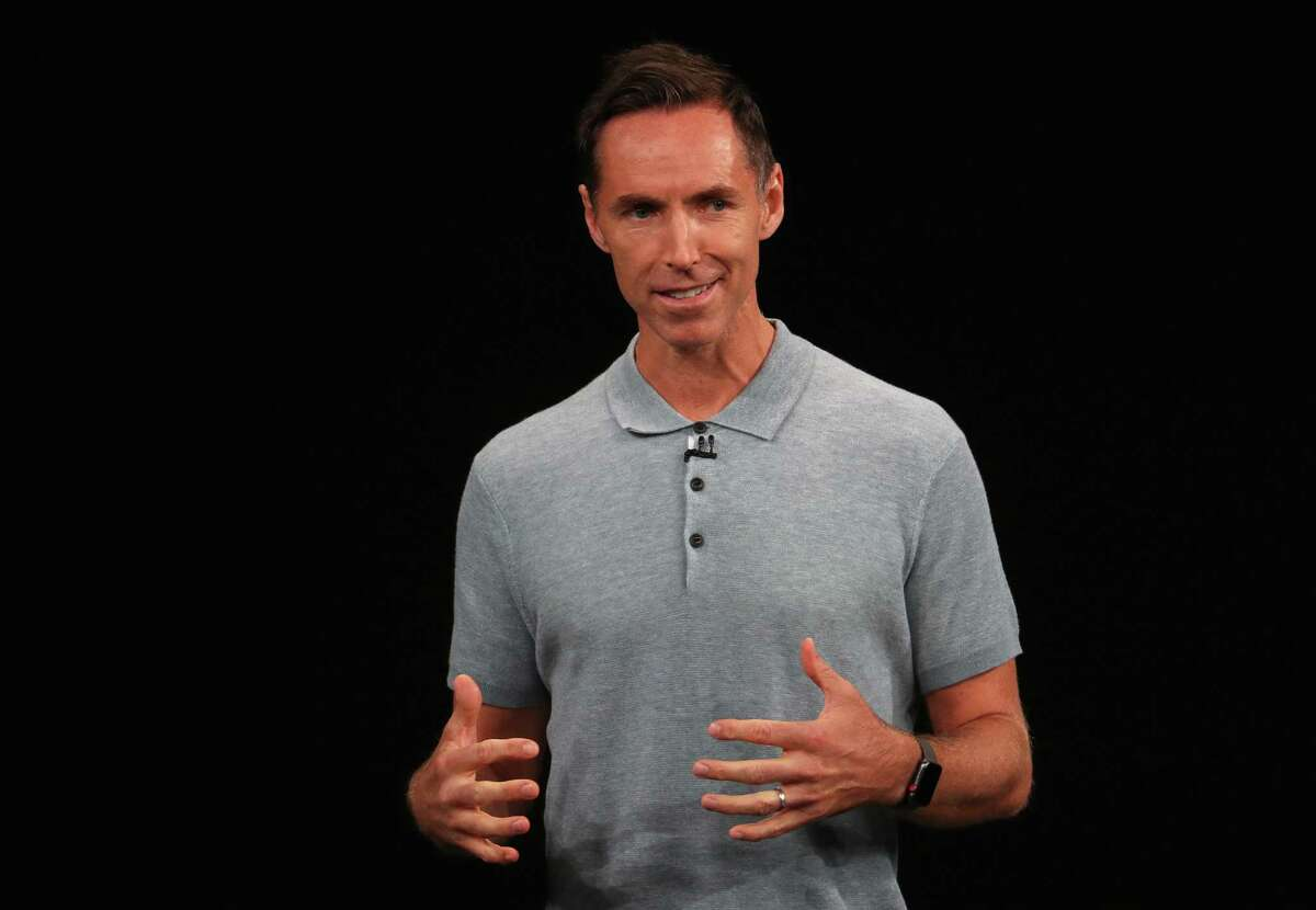 FILE - SEPTEMBER 3: Hall of Fame guard Steve Nash has signs on to become the next coach of the Brooklyn Nets CUPERTINO, CALIFORNIA - SEPTEMBER 12: Former NBA player Steve Nash speaks at an Apple event at the Steve Jobs Theater at Apple Park on September 12, 2018 in Cupertino, California. Apple is expected to announce new iPhones with larger screens as well as other product upgrades. (Photo by Justin Sullivan/Getty Images)