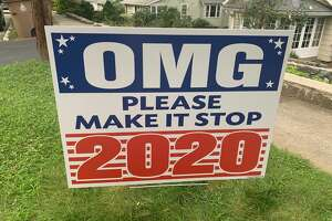 A sign reads 'OMG Please Make it Stop 2020' in front of a House in Stamford.