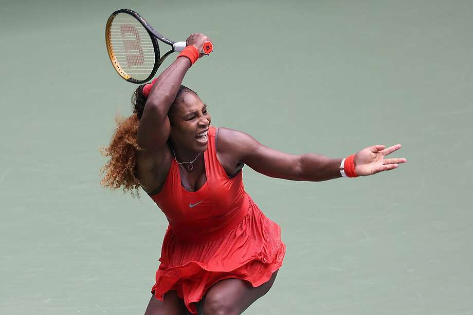 Serena Williams of the United States returns the ball during her Women's Singles quarterfinal match against Tsvetana Pironkova of Bulgaria on Day Ten of the 2020 US Open at the USTA Billie Jean King National Tennis Center on September 9, 2020 in the Queens borough of New York City. (Al Bello/Getty Images/TNS) Photo: Al Bello / Getty Images