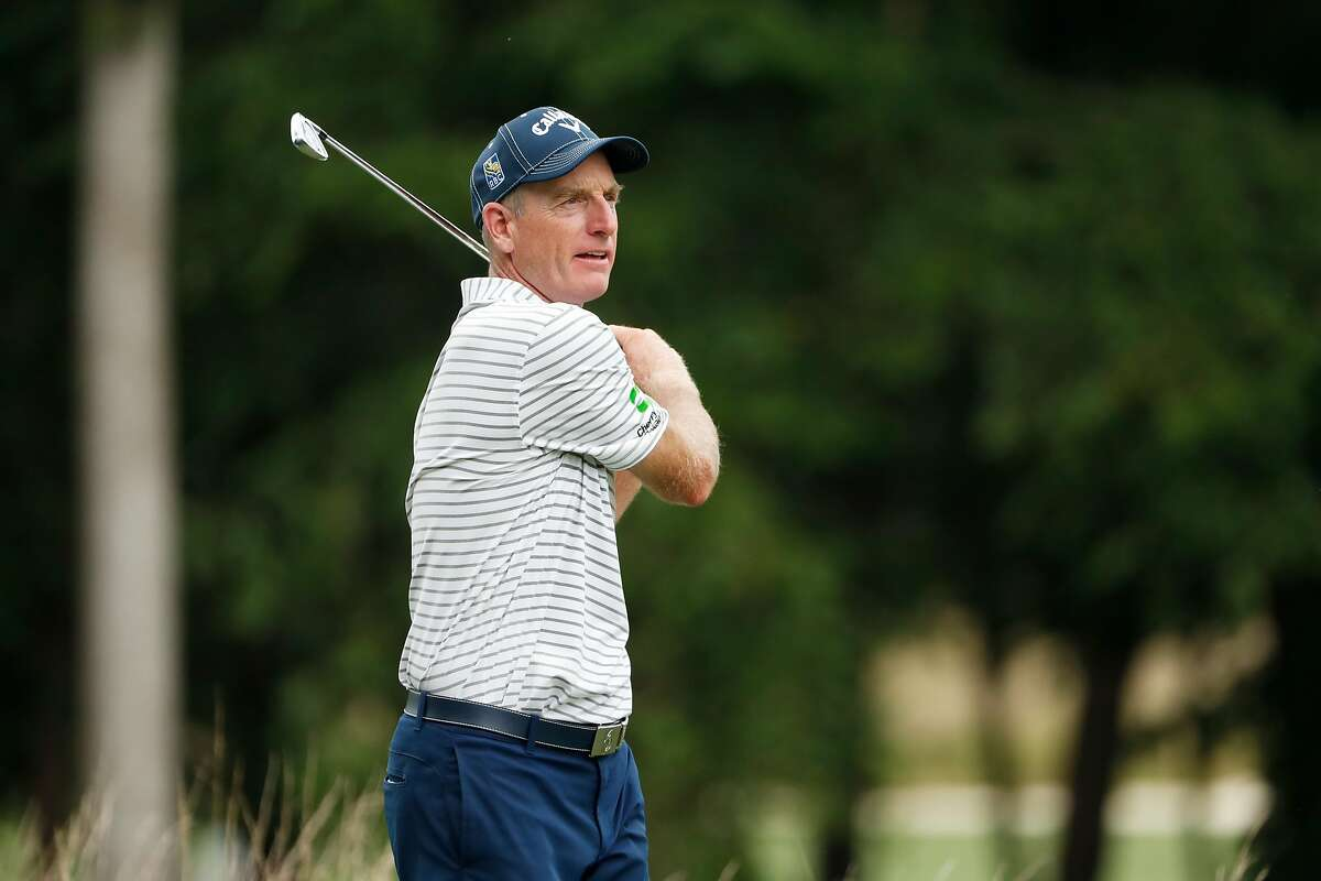 GREENSBORO, NORTH CAROLINA - AUGUST 14: Jim Furyk of the United States plays his shot from the 12th tee during the second round of the Wyndham Championship at Sedgefield Country Club on August 14, 2020 in Greensboro, North Carolina. (Photo by Chris Keane/Getty Images)