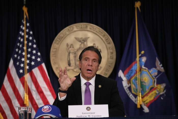 New York state Gov. Andrew Cuomo speaks at a news conference on September 8, 2020 in New York City. (Photo by Spencer Platt/Getty Images)