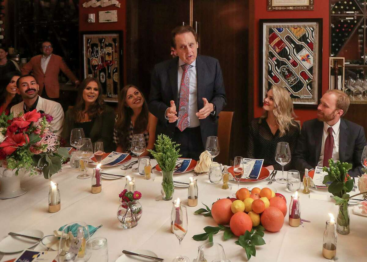 Tony Vallone speaks during a dinner party at his restaurant, Tony's, on Tuesday, Oct. 8, 2019, in Houston.
