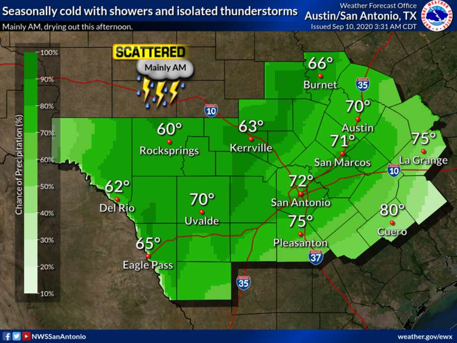 San Antonio hit record low temperatures Thursday after a cold front rolled through the area, according to meteorologists with the National Weather Service. Photo: National Weather Service