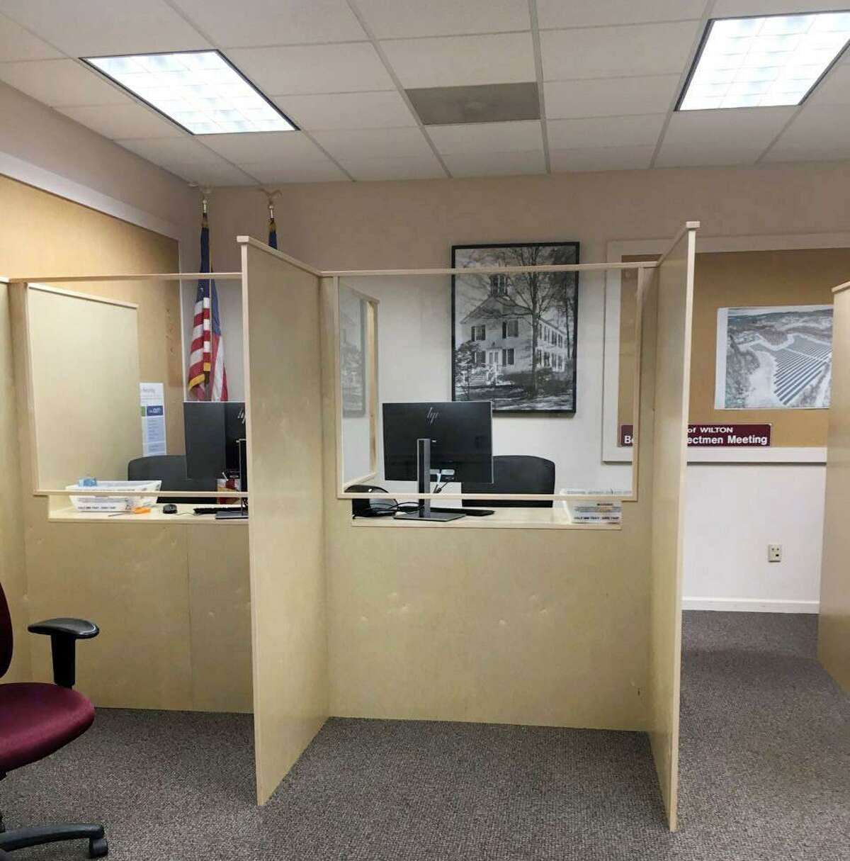 An additional two (of four) new work stations in the conference room at Wilton Town Hall for workers to process absentee ballots.