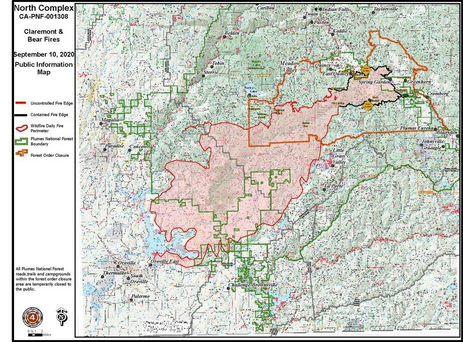 U.S. Forest Service-Plumas National Forest released a new map of the North Complex fires in Plumas, Butte and Yuba counties, Thursday, Sept. 10, 2020. Photo: US Forest Service