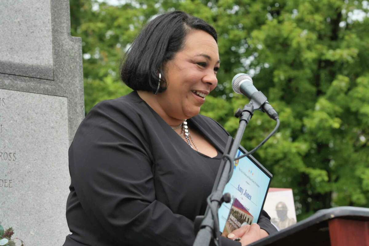 Amy Jones, the recipient of the 2020 Henry Johnson Award for Distinguished Community Service, speaks during an event at Henry Johnson Park to mark the 4th Annual Henry Johnson Day on Thursday, Sept. 10, 2020, in Albany, N.Y. (Paul Buckowski/Times Union)