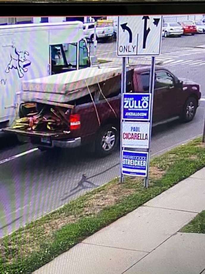 A truck allegedly used in the robbery of a People's Bank branch in East Haven Wednesday. Photo: East Haven Police Department /