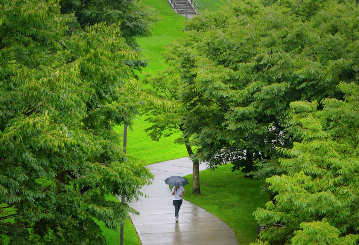 A woman walks along a path in the rain on Thursday, Sept. 10, 2020, in Albany, N.Y. (Paul Buckowski/Times Union)