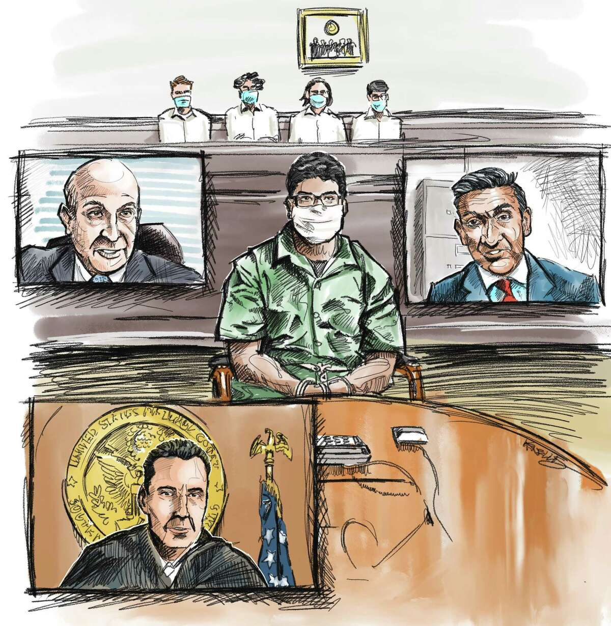 Ibraheem Ahmed Al Bayati, 19, of Richmond, appears in Houston federal court for a Zoom hearing on charges he