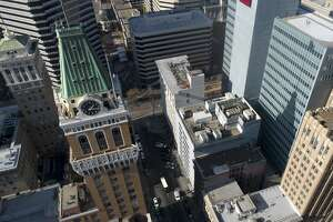 OAKLAND, CA: NOVEMBER 21: The Tribune Tower is seen from this drone view in downtown Oakland, Calif., on Thursday, Nov. 21, 2019. (Jane Tyska/Digital First Media/The East Bay Times via Getty Images)