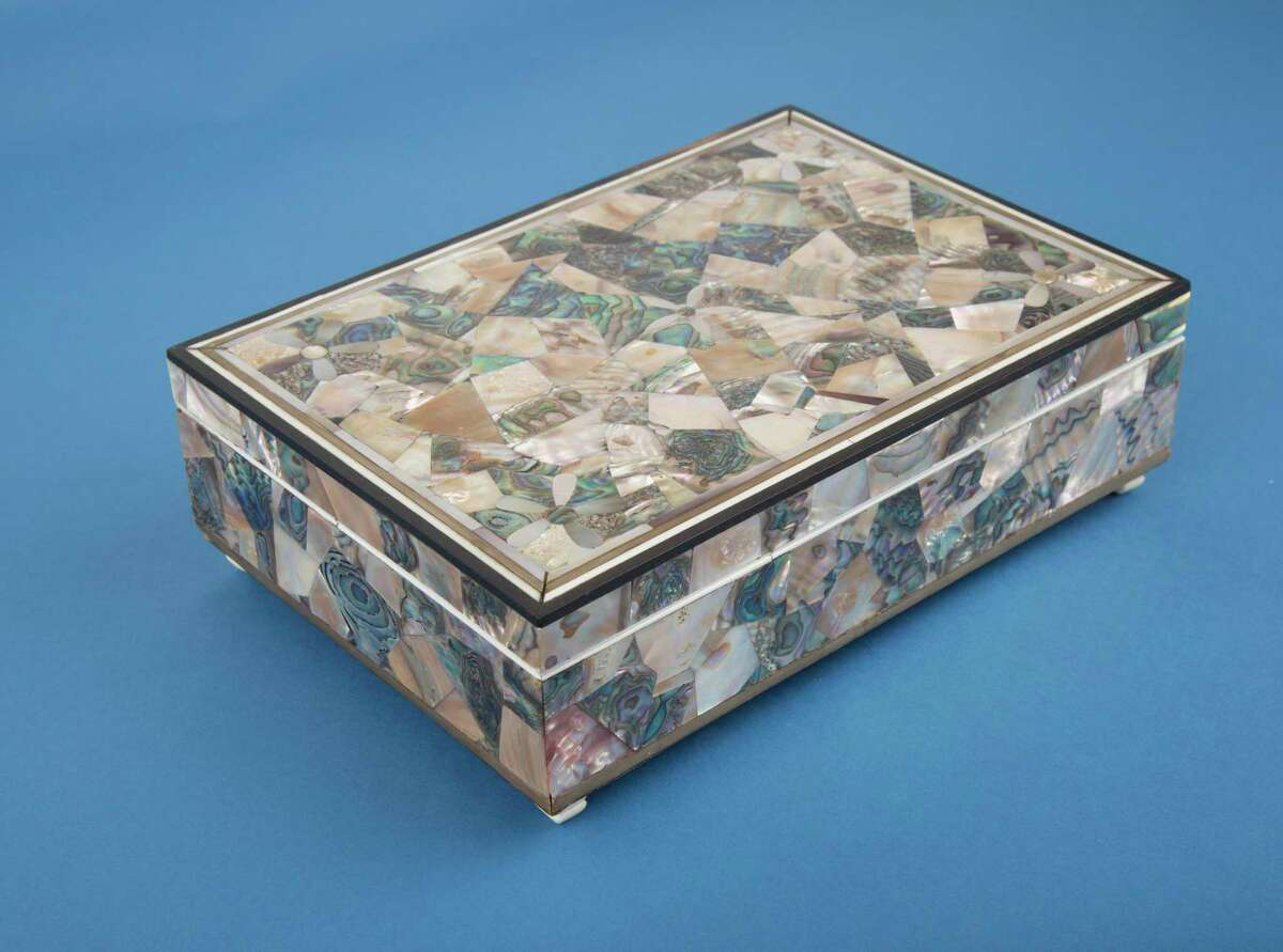Box made of abalone, ivory, and baleen by John R. Stivers, c. 1860. Stivers was master of a whaling voyage in the schooner Tekoa of Stonington (1859-60).