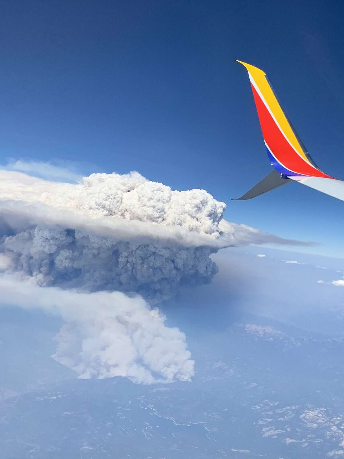 A cumulonimbus flammagenitus cloud also known as a pyrocumulonimbus cloud from the Creek Fire in the the Sierra National Forest as seen on September 5, 2020. Passenger Thalia Dockery took these photos on a Southwest Airlines, from San Jose to Las Vegas on September 5, 2020.