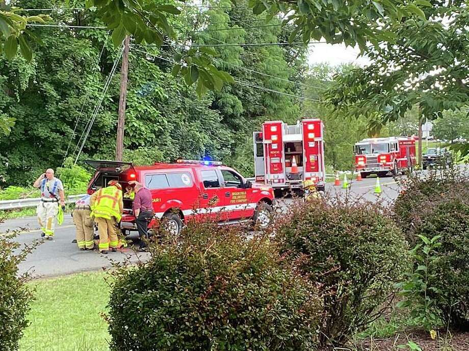 A large hazmat spill in the Grays Bridge Road has closed several roads non Thursday, Sept. 9, 2020. Photo: Brookfield Fire Department Photo
