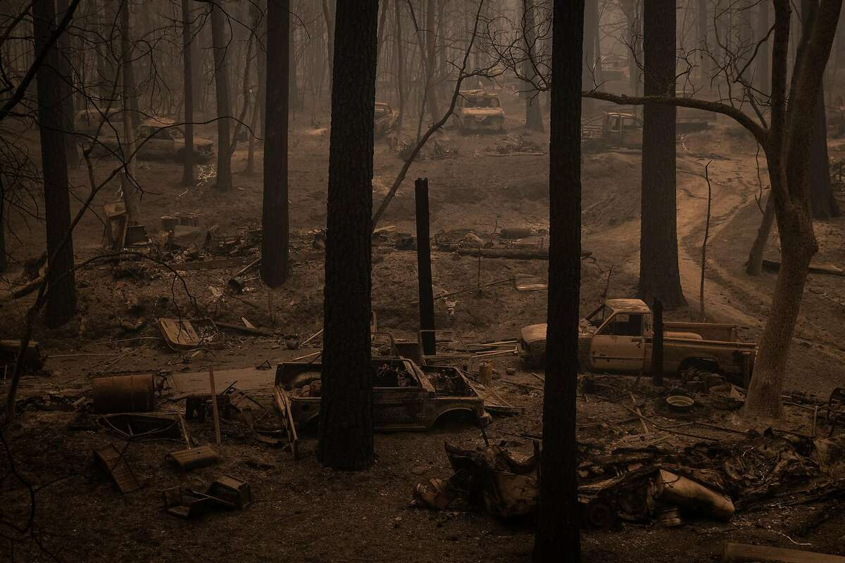 The town of Berry Creek, Calif., Wednesday, Sept. 9, 2020, was largely destroyed by the Bear Fire. Propelled by winds as strong as 45 mph, the Bear Fire northeast of Oroville, Calif., has grown at explosive rates this week, causing three deaths as it ripped through mountain communities and forced thousands of people to evacuate. (Max Whittaker/The New York Times)