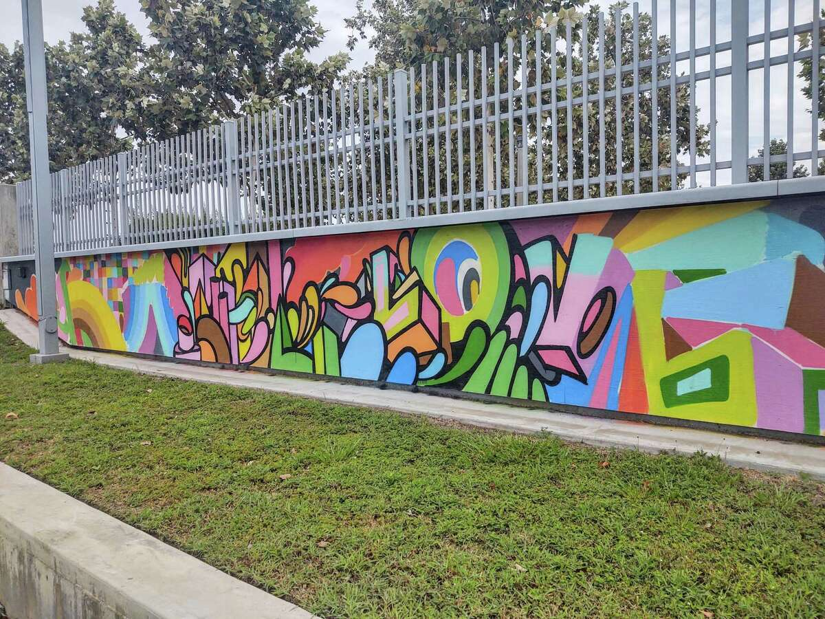 Houston artist Wiley Robertson is painting the mural at the Joe and Lee Jamail Skatepark at Eleanor Tinsley Park