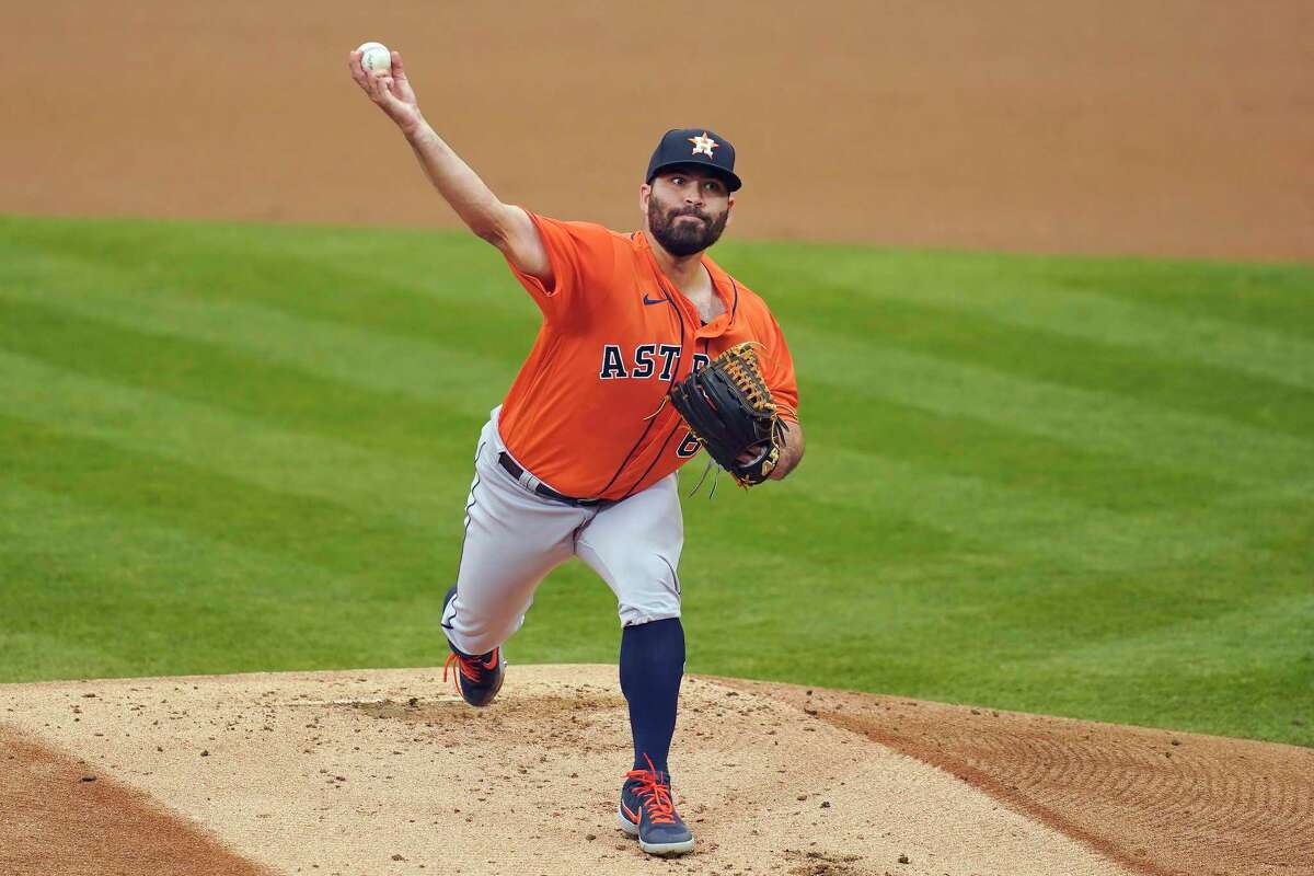 Houston Astros' Jose Urquidy pitches against the Oakland Athletics during the first inning of a baseball game in Oakland, Calif., Thursday, Sept. 10, 2020. (AP Photo/Jeff Chiu)