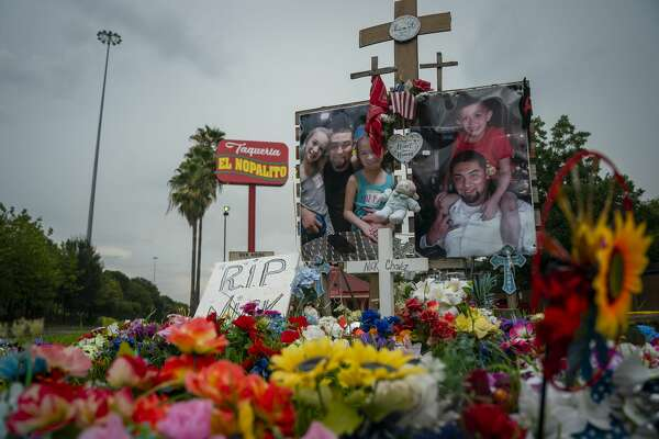 A tribute to Nicolas Chavez, 27, who was shot and killed April 21 by several police officers during a confrontation in Denver Harbor, sits at the site of the shooting along Interstate 10, Thursday, Sept. 10, 2020. Police released video of the shooting on Thursday afternoon.