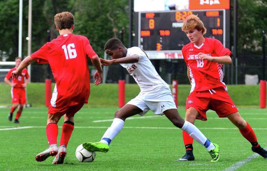 Boys soccer action between Hillhouse and Fairfield Prep in Fairfield in 2018. Photo: Christian Abraham / Hearst Connecticut Media / Connecticut Post