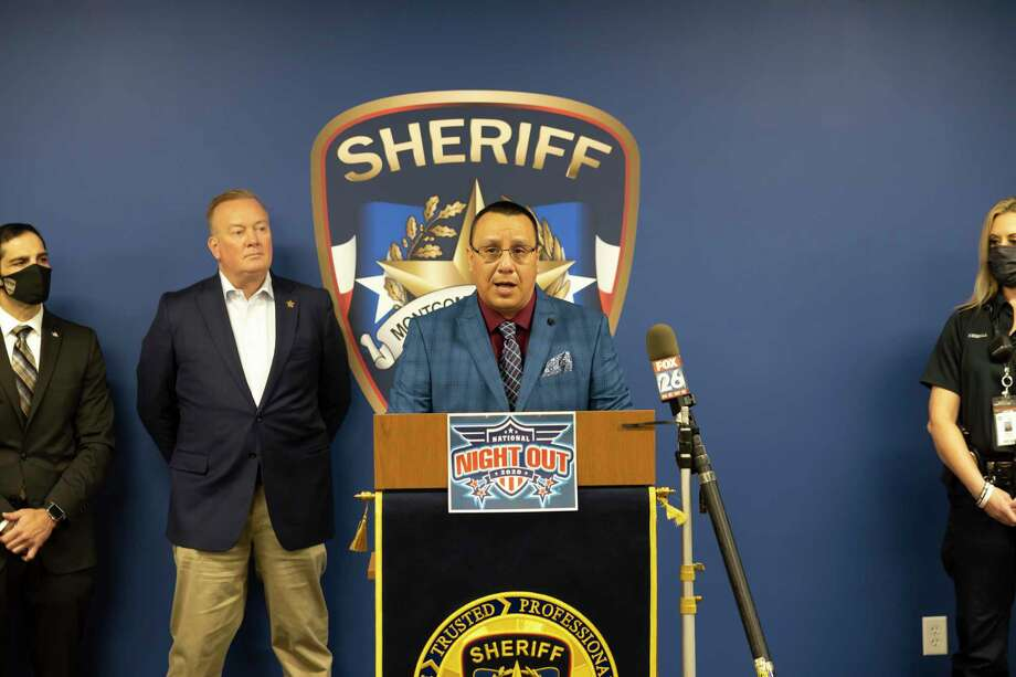 Former president of the Texas Crime Prevention Association, Andrew Samarripa, speaks during a press conference for National Night Out at the Montgomery County Sherriff's Office, Thursday, Sept. 10, 2020. The sheriff's office has asked everyone who wants to participate to turn on their front porch lights and host block parties on their individual driveways in order to practice social distancing. Photo: Gustavo Huerta, Houston Chronicle / Staff Photographer / 2020 © Houston Chronicle