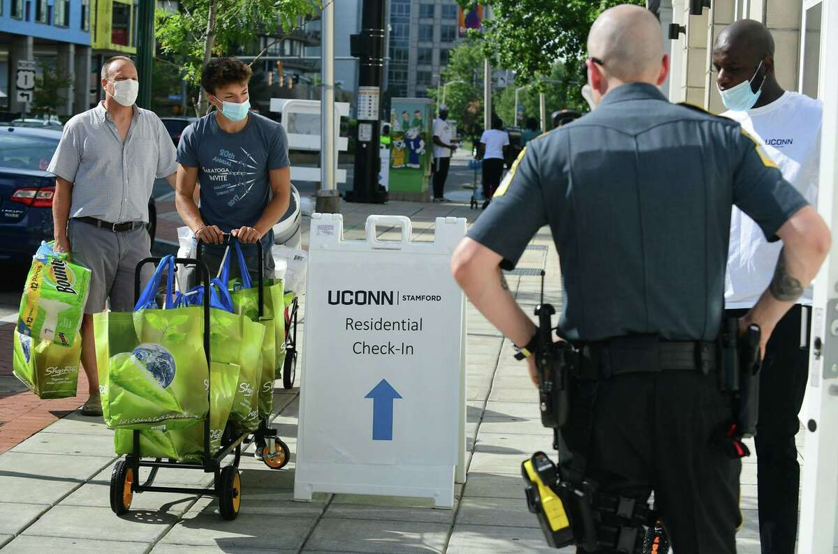 About 265 UConn-Stamford students move into the 900 Washington Blvd. residence hall Friday, August 14, 2020, in Stamford, Conn.