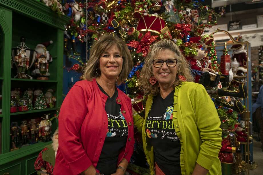 Miss CayceÕs Wonderland co-owners Becky McCraney, left, and Kathy Harrison, right, pose in front of the Nutcracker tree Thursday, Sept. 10, 2020 for the holiday season at 1012 Andrews Hwy. Jacy Lewis/Reporter-Telegram Photo: Jacy Lewis/Reporter-Telegram / MRT