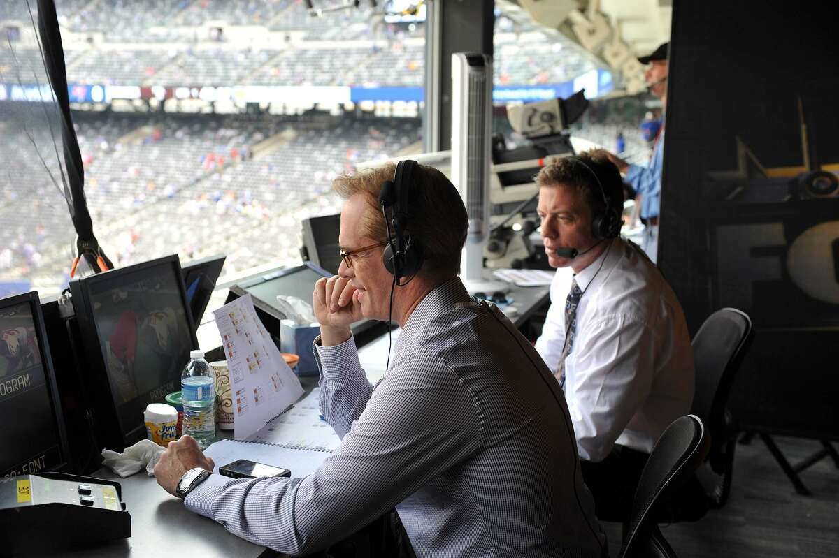 NFL on Fox announcers Joe Buck, left, and Troy Aikman. (Fox Sports photo)