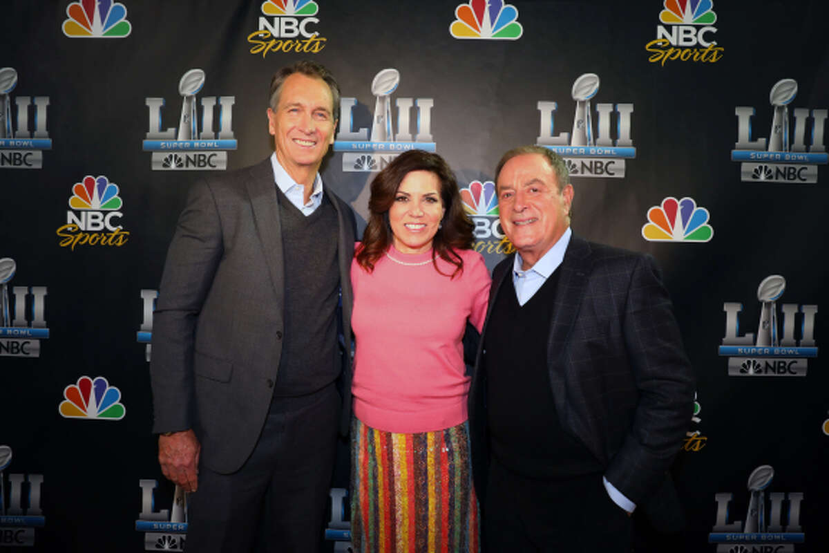 BLOOMINGTON, MN - JANUARY 30: Cris Collinsworth, Michele Tafoya and Al Michaels from NBC Sports walks the red carpet at the media center at Mall of America on January 30, 2018 in Bloomington, Minnesota. (Photo by Adam Bettcher/Getty Images for NBC Universal) *** Local Caption *** Cris Collinsworth; Michele Tafoya; Al Michaels