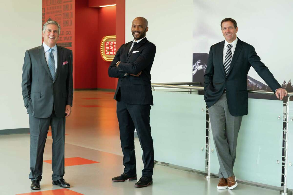 Bristol, CT - September 2, 2020 - DC2: Group portrait of Steve Levy (l), Louis Riddick and Brian Griese (Photo by Kelly Backus / ESPN Images)