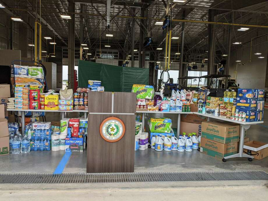 Food and cleansing products are prepared to head toward communities affected by Hurricane Laura, which roared through far east Texas and Louisiana. Fort Bend County Judge KP George and interfaith council helped raise the needed materials. Photo: Juhi Varma
