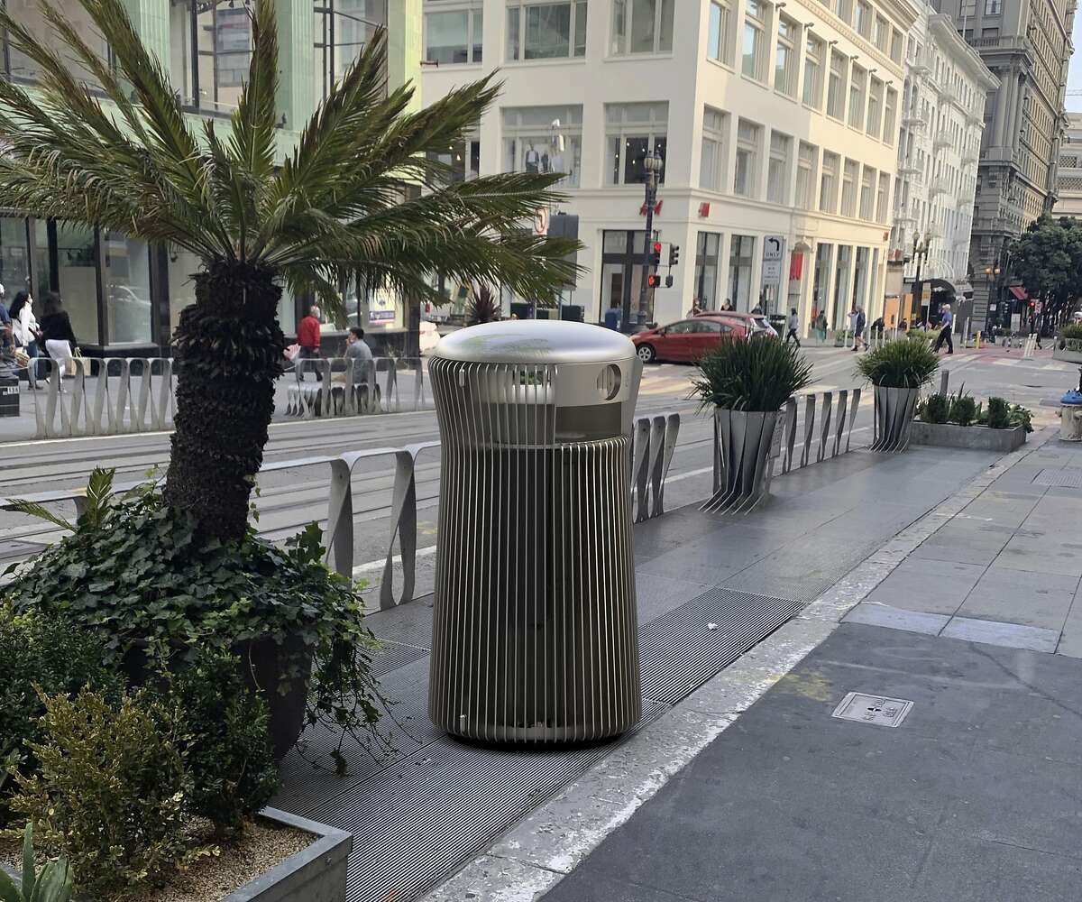 """A rendering that shows one of the three contenders for San Francisco's new trash can, """"salt and pepper,"""" on Powell Street. San Francisco Public Works will select a replacement for the current green receptacles after prototypes are put on display for public review."""