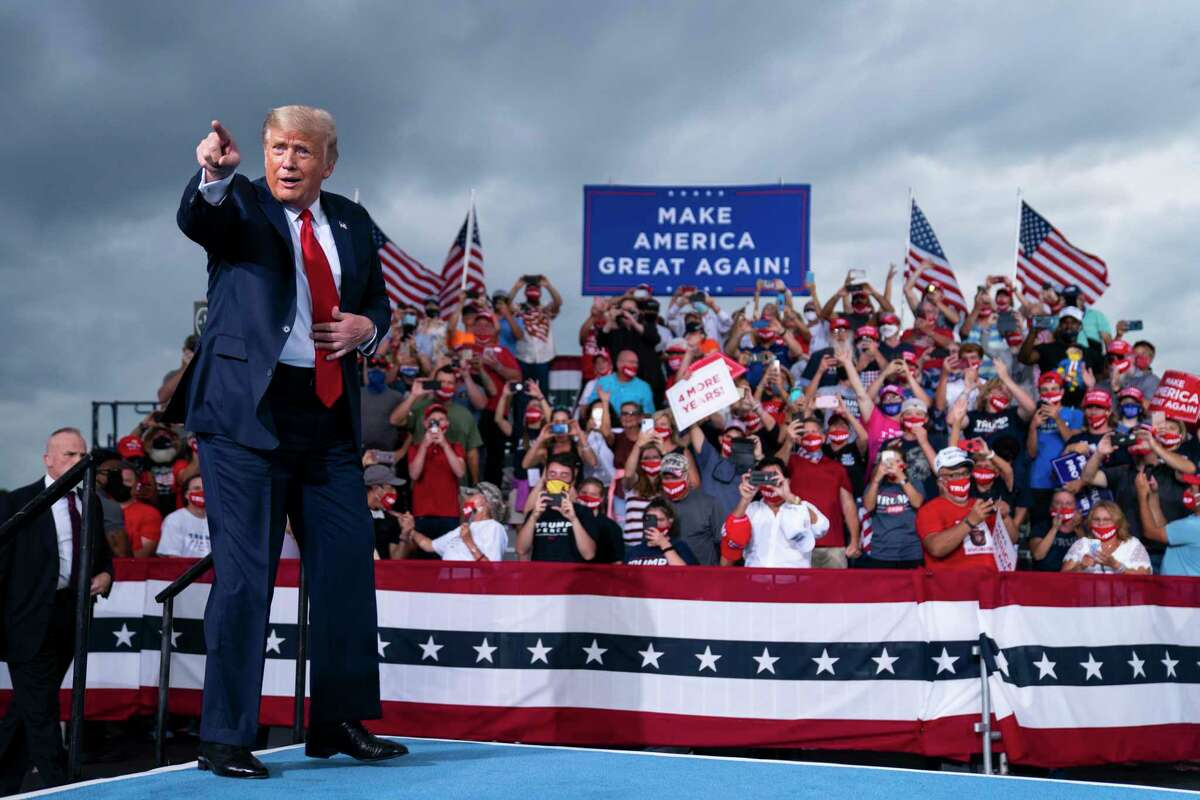 President Donald Trump speaks at a campaign rally in North Carolina this week. The Trump campaign has frittered away much of its fundraising, but this wouldn't diminish a Biden victory.