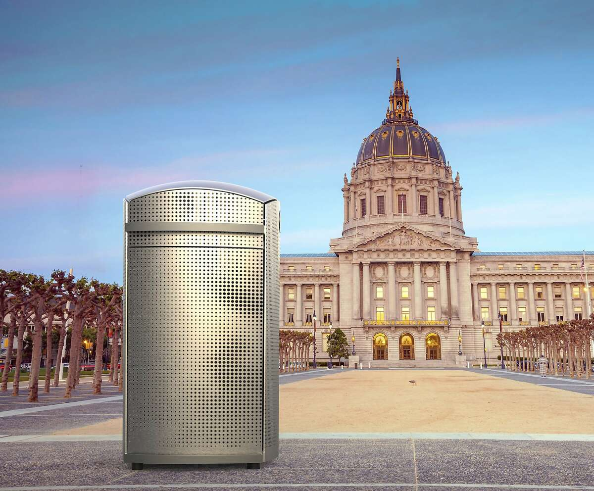 """A rendering that shows """"soft square,"""" one of the three contenders for San Francisco's new trash can, in Civic Center. San Francisco Public Works will select a replacement for the current green receptacles after prototypes are put on display for public review."""