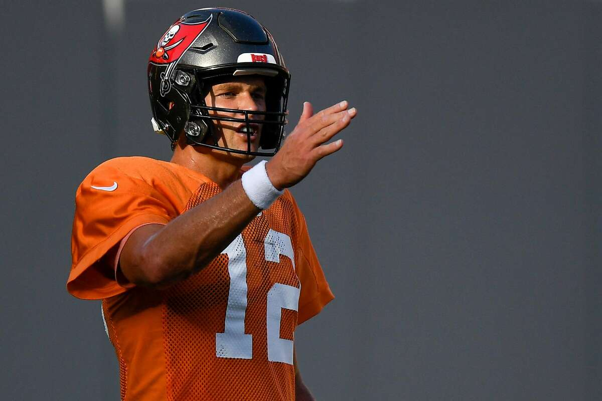 TAMPA, FLORIDA - SEPTEMBER 03: Tom Brady #12 of the Tampa Bay Buccaneers reacts during training camp at Raymond James Stadium on September 03, 2020 in Tampa, Florida. (Photo by Douglas P. DeFelice/Getty Images)