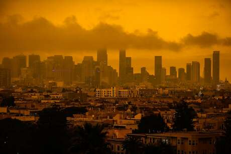 Downtown San Francisco is seen covered in haze and smoke from various wildfires on Wednesday, Sept. 9, 2020 in San Francisco, California.