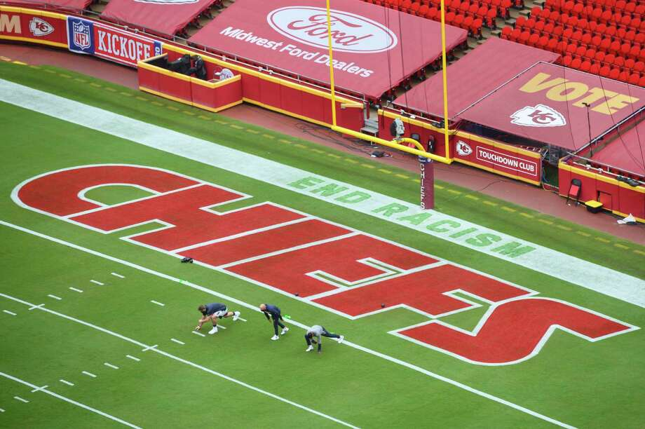 PHOTOS: A look at Arrowhead Stadium before the Texans-Chiefs opener Members of the Houston Texans stretch near a social justice sign in the end zone prior to their NFL football game against the Kansas City Chiefs, Thursday, Sept. 10, 2020, in Kansas City, Mo. (AP Photo/Reed Hoffmann) Photo: Reed Hoffmann, Associated Press / Copyright 2020 The Associated Press. All rights reserved.