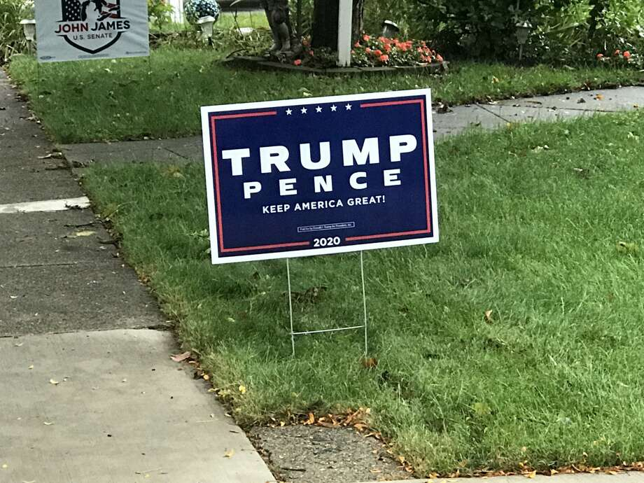 Stealing a political sign is a misdemeanor under Michigan law. (Erin Glynn/Manistee News Advocate) Photo: Erin Glynn/Manistee News Advocate