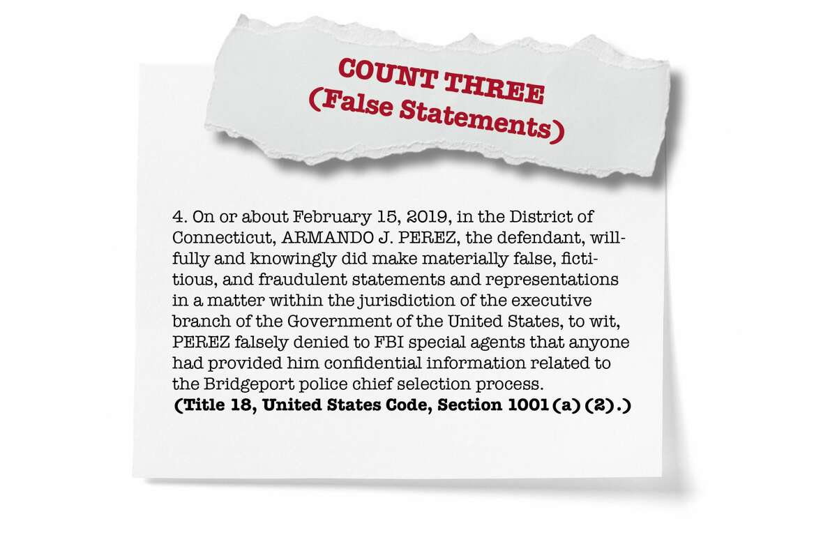 Count three: False statements by Perez