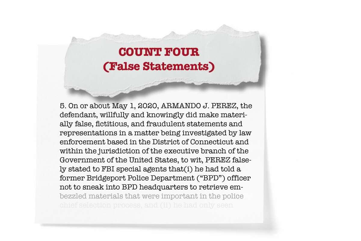 Count four: False statements by Perez