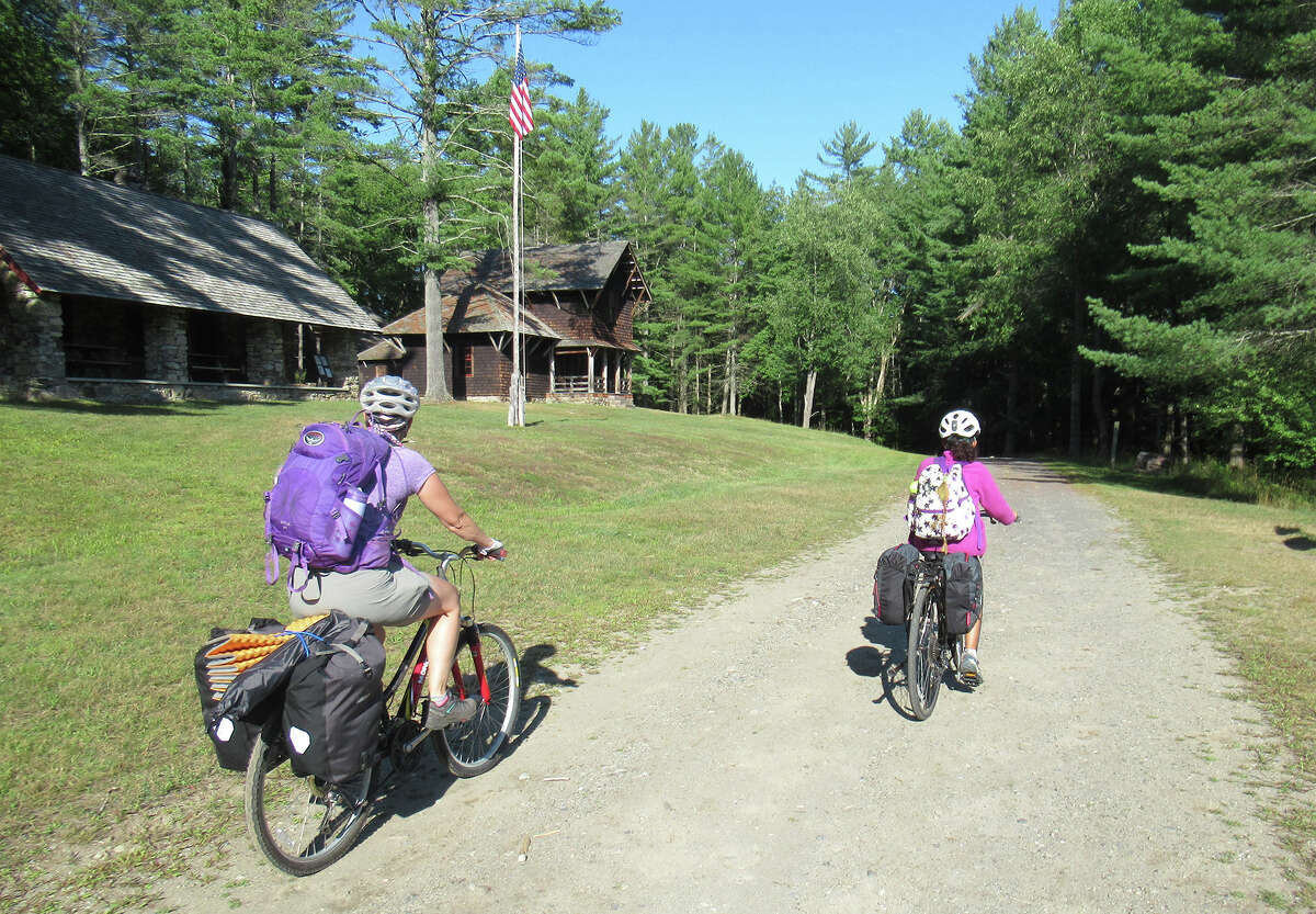 It's an easy five-mile trip in to the Great Camp Santanoni, especially by bike. (Herb Terns / Times Union)