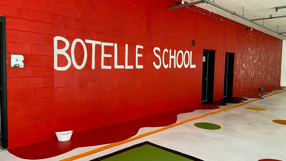 A ground-floor space that faces the outdoors and was previously used for storage at the Botelle Elementary School in Norfolk is now brightly painted and ready for recess and activities. Photo: Ann DeCerbo / Contributed Photo /