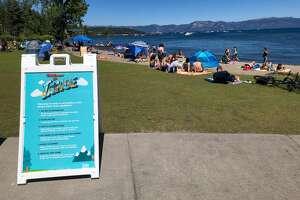 A beach in Lake Tahoe in July.