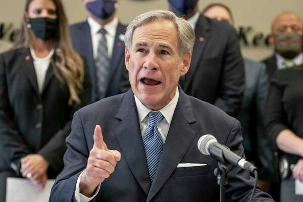 "Texas Gov. Gov. Greg Abbott speaks at a news conference before signing a ""Texas Backs the Blue Pledge"" at the Austin Police Association on Thursday Sept. 10, 2020, in Austin, Texas."