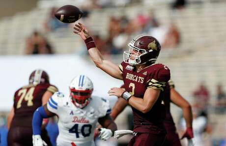 SAN MARCOS, TEXAS - SEPTEMBER 05: Brady McBride #2 of the Texas State Bobcats throws a pass in the first half against the Southern Methodist Mustangs at Bobcat Stadium on September 05, 2020 in San Marcos, Texas. (Photo by Tim Warner/Getty Images)