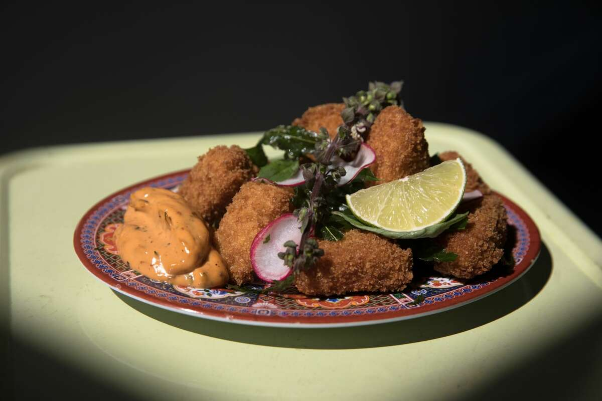 Fried Hodo tofu nuggets with sambal mayo at Lion Dance Cafe in Oakland on Sept. 4, 2020.